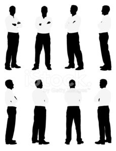 Silhouette of men standing with his arms crossed