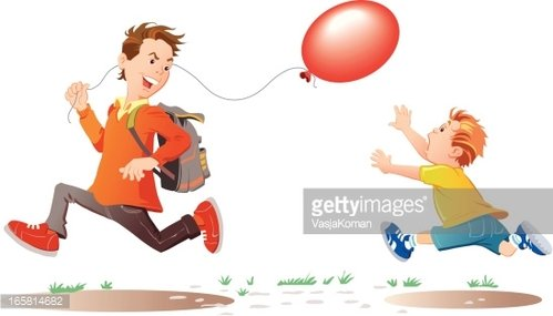 child and a boy running with red balloon premium clipart