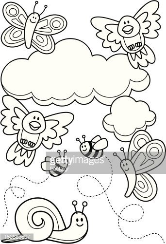 Baby Animals Coloring Book Clipart Image