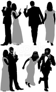 Multiple images of a couple with hand gun
