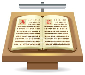 Bible or old book text icon