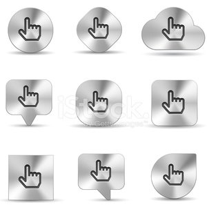 brush metal icon set of hand cursor