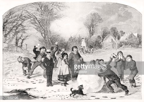 Engraving showing victorian children rolling snowball