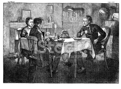 three people at dining table from 1867 journal