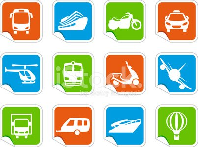 Various means of travel on colorful stickers