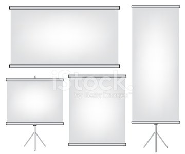 Projector screen and roll up banner illustration