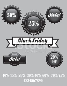 Glossy Black Friday Sale Stickers
