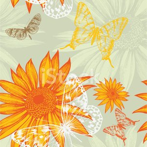 Seamless pattern with sunflowers and butterflies, hand drawing.