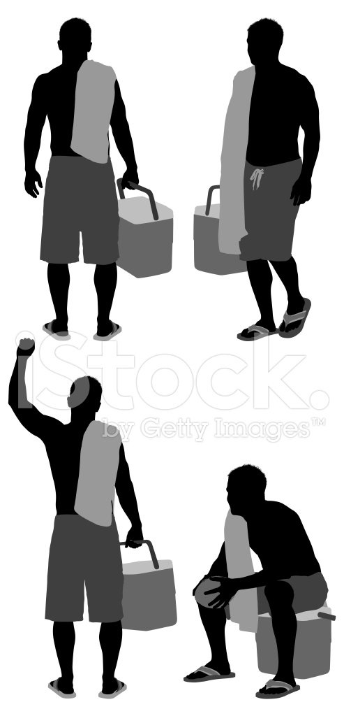 Multiple image sof a man carrying ice box