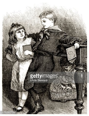 Victorian children with books