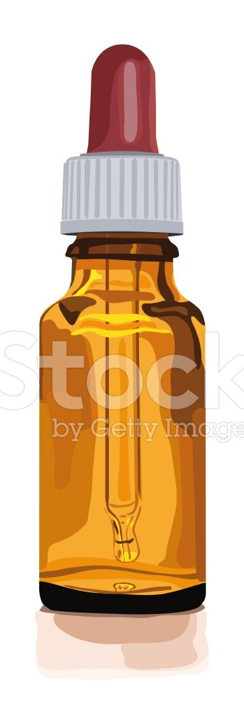 empty brown glas bottle for medicine with dropper