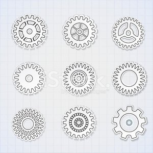 Vector icon set d'engrenages