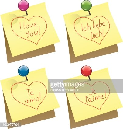 vector paper notes with I love you words