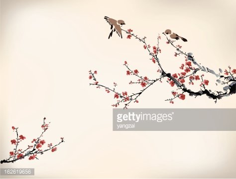 Digital drawing of birds in a Japanese cherry tree in ...
