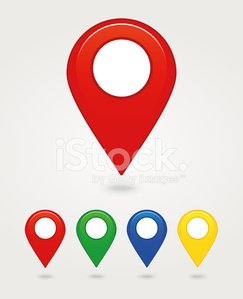 Vector icon set of big and small mapping pins