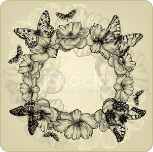 Vintage background with a wreath of roses and butterflies.