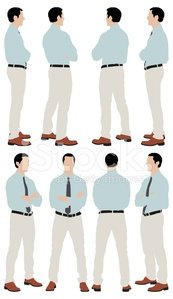 Multiple images of a businessman standing