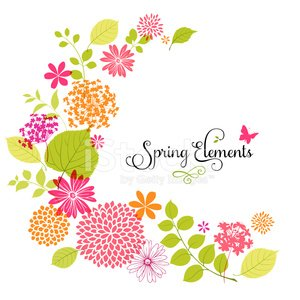 Spring flower design with copyspace on white