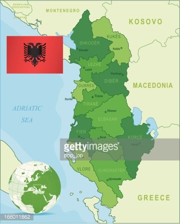Green Map Of Albania States Cities And Flag Premium Clipart