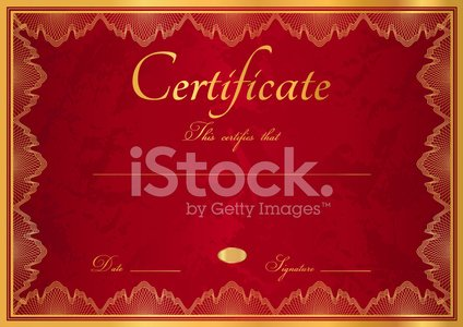 Red certificate / diploma of completion (template) with gold bor