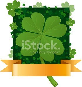 Four leaf clover pattern with banner