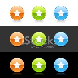 Star sign circle icon orange green blue button shadow reflection