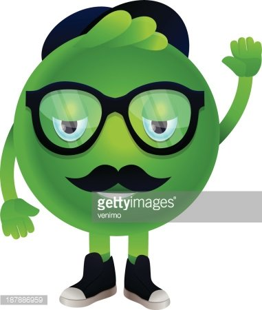 Vector Funny Monster With Mustache And Glasses Clipart Image