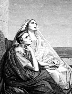 Antique illustration of St. Augustine with his mother