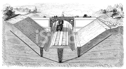 Antique illustration of trains, bridges and railroads constructi