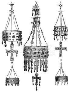 Antique illustration of old Spanish crowns in Guarrazar