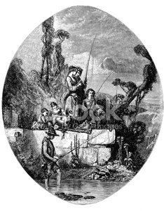 Antique illustration of people fishing in summer