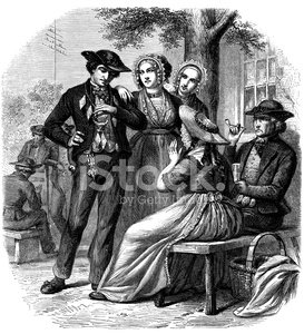 Antique illustration of traditional dutch clothes