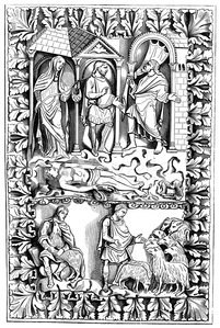 Antique illustration of Louvre ivory engraving