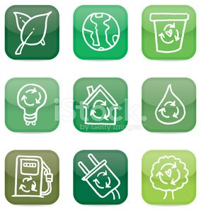 Recycling and nature icon doodle set