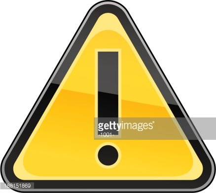 Yellow attention warning sign black exclamation mark pictogram
