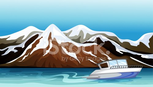 Boat, river and beautiful mountain