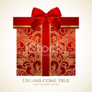 Red gift box with gold floral pattern, bow (ribbon). Present