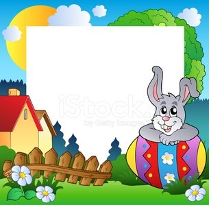 Easter frame with egg and bunny
