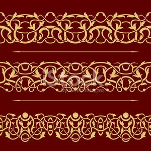 Collection of gold floral seamless border design element