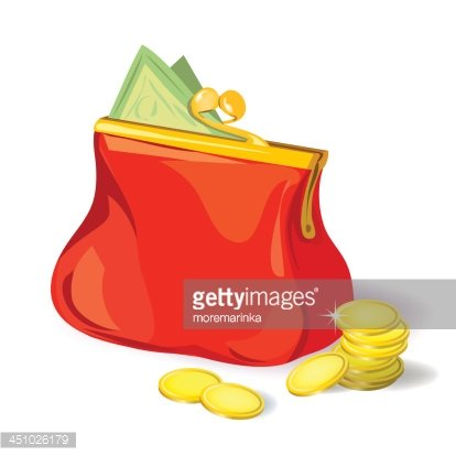 red purse with money