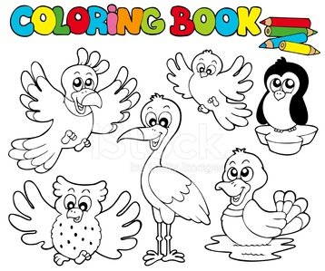 Coloring Book With Cute Birds 1 Clipart Image