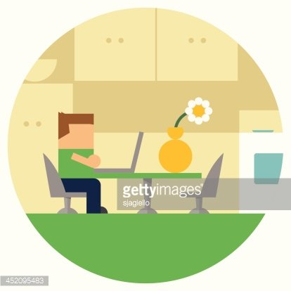 Kid On Laptop Homework At The Kitchen Table Clipart Image