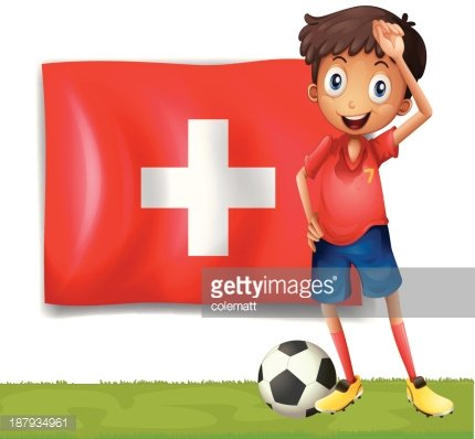 Football player in front of the flag Switzerland