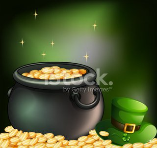 Pot of coins and a green hat