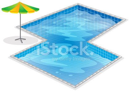 Swimming pool with a beach umbrella