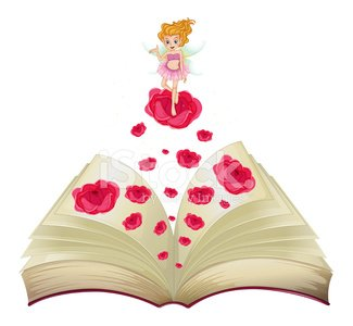 book with an image of fairy above a big rose