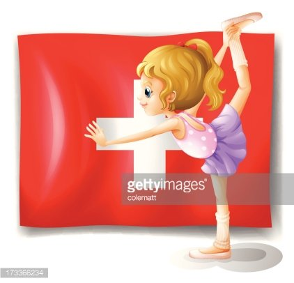 The flag of Switzerland and young ballet dancer
