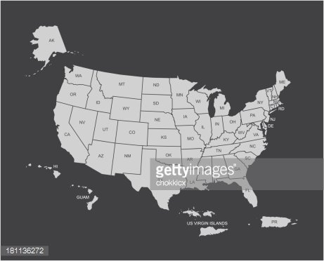 USA map outline with its territories