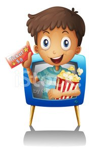 boy on the television holding a ticket and popcorn