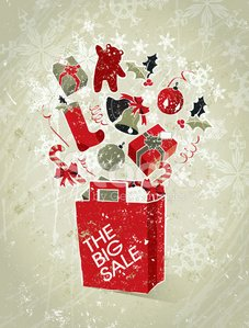 Christmas Sale Shopping Bag Elements with Gifts and Text